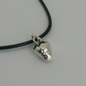 """Silver Plated Strawberry Charm Necklace 20"""" Cord"""